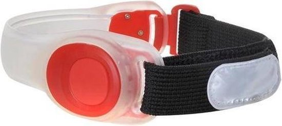 LED Sportarmband hardlopen verstelbaar inclusief batterijen kleur rood