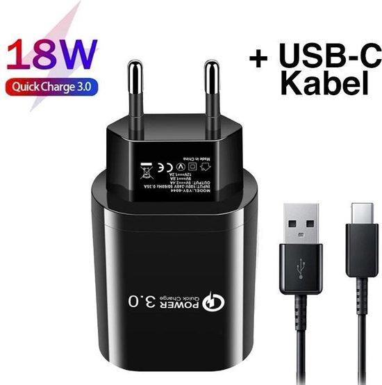 Snelle oplader voor Samsung - Inclusief USB C oplaadkabel - USB Thuislader voor Samsung S20 / S10 / S9 / S8 - Huawei/Oppo/ HTC - Zwart