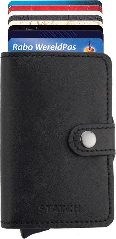Statch Portemonnee Luxe Uitschuifbare Pasjeshouder van Aluminium & Leer - Creditcardhouder / Kaarthouder voor mannen en vrouwen - Anti-Skim / RFID Card Protector tot 13 Pasjes - Zwart