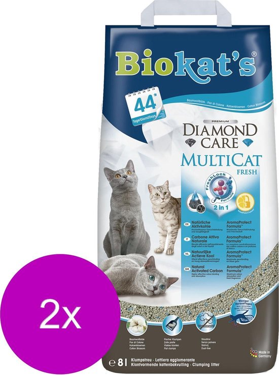 Biokat's Diamond Care Multicat - Kattenbakvulling - 2 x 8 l