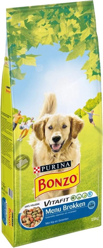 Bonzo VitaFit Menubrokken Adult - Hondenvoer Kip & Groenten - 15 kg