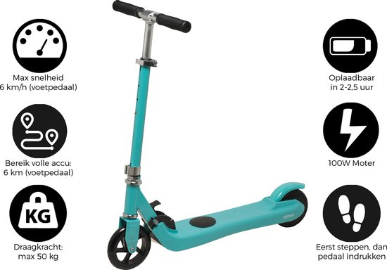 "Denver SCK-5300BLUE, Elektrische step / 5"" wielen / kick scooter / inklapbaar / Maximale snelheid 6km / Blauw"