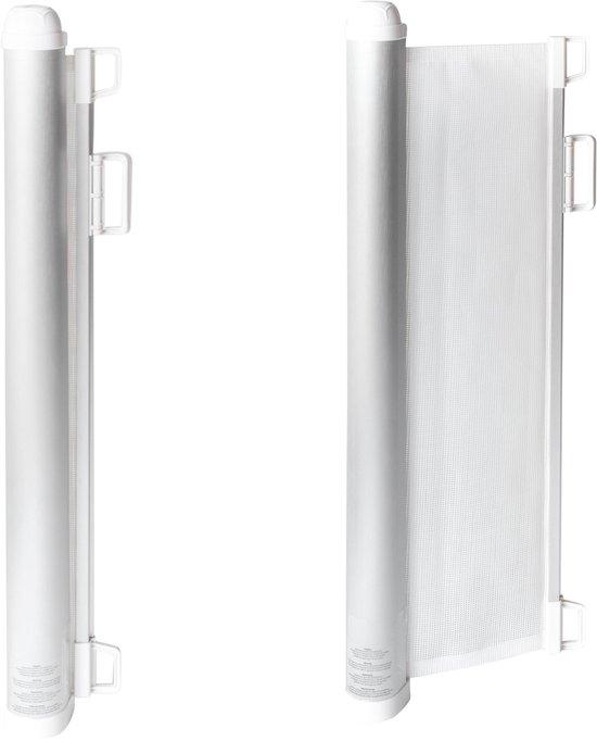 Oprolbaar traphekje van luxe aluminium - Wit veiligheidshekje en deurhekje voor baby kind en dier