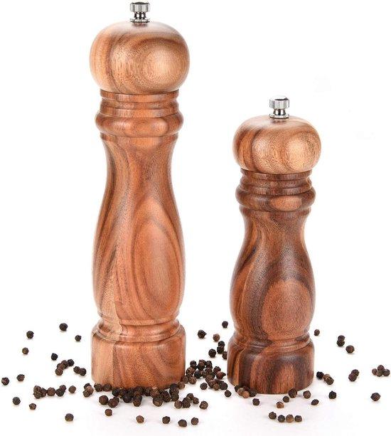 Peper en Zoutmolen set van Acacia Hout Double Wood Klassiek