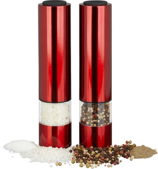 relaxdays elektrische pepermolen - set van 2 stuks - rood - kruidenmolen - zoutmolen LED