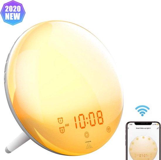 Wake up light Wekker Google home Wekkerradio Nachtlampje Leeslamp – Zonsopkomst – Slaaptrainer – Smartphone – 2021