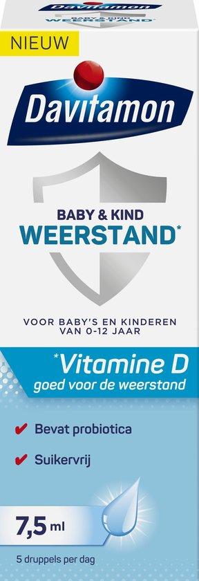 Davitamon Baby & Kind Weerstand met vitamine D3 en probiotica - voor baby's en kinderen - probiotica baby - 7,5 ml