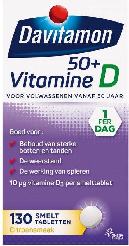 Davitamon Vitamine D 50+ Smelttabletten - vitamine d volwassenen - 130 stuks - Voedingssupplement