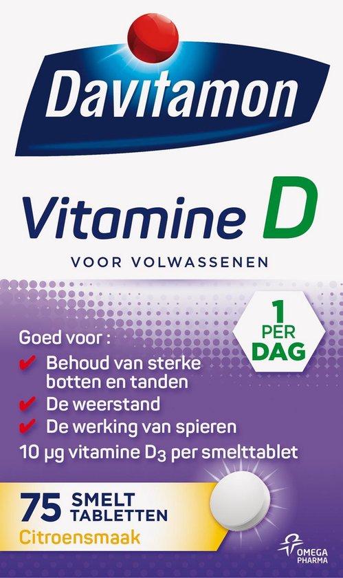 Davitamon Vitamine D Volwassen - vitamine D3 volwassenen - Smelttablet 75 stuks
