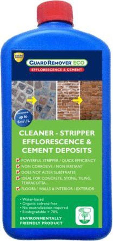 Cementsluierverwijderaar voor het verwijderen van cementsluier, witte aanslag en kalkuitbloeiing op vloeren en gevels - Guard Remover Eco Efflorescence & Cement 1L