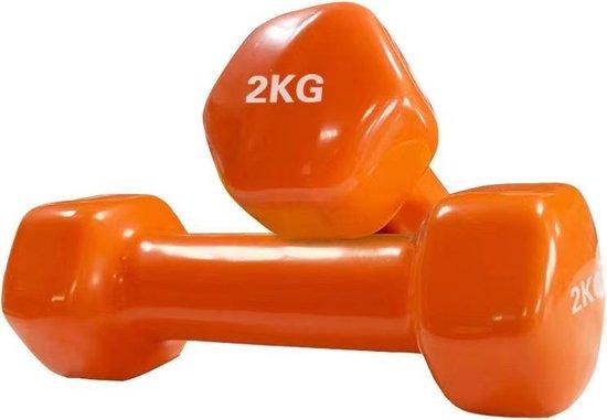 Foxfit Dumbbell set - 2 x 2kg - Rubber - Oranje