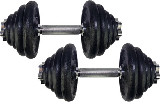Tunturi Slimme Halterset - Dumbbellset 2 x 15 kg - Totaal 30 kg - Zwart