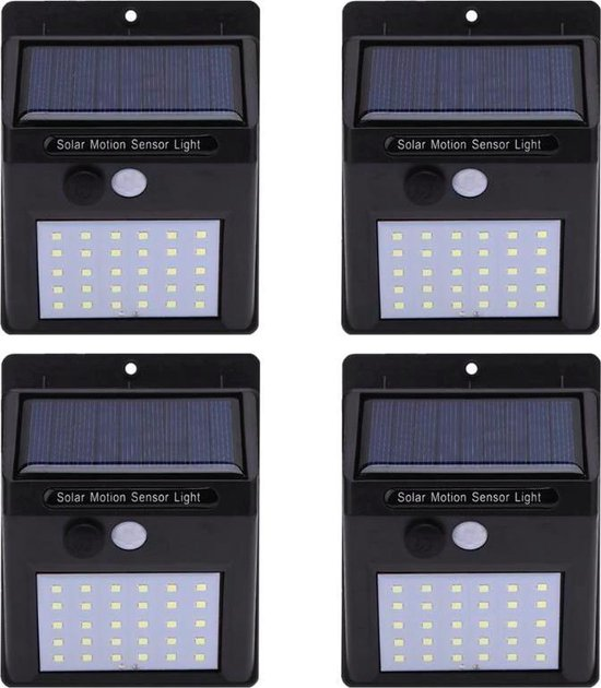 4 x 20 LED Buitenlampen - Met bewegingssensor - Solar Zonne-energie Panelen