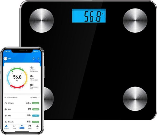 Achaté Slimme Personenweegschaal - 12x Volledige Lichaamsanalyse o.a. Vetpercentage - Met Analyse App - Weegschaal - Zwart