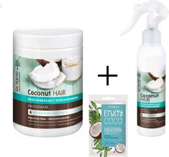 Dr. Sante Coconut Hair Masker Haarmasker, met kokos olie, regeneratie voor alle haartypes, intensive recovery, 1000ml en Conditioning Spray, leave-in, conditioner, 150ml