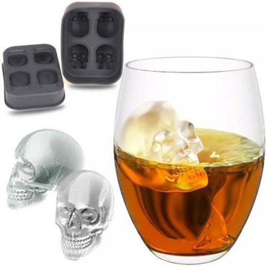 Halloween 3D Skull hoofd Ice Cube mal Home Bar siliconen 4 Lattice Ice Cube Biscuit taart chocolatier mallen