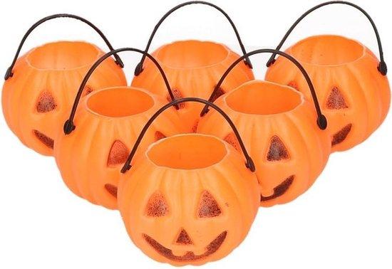 Halloween - 6x Halloween mini pompoen emmers 5 cm - Halloween decoratie/versiering/accessoires - Traktatie emmertjes