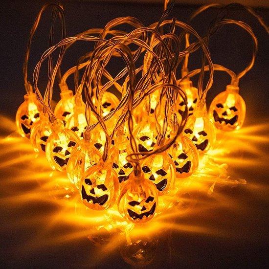 Halloween Lichtketting | Lichtsnoer | Halloweendecoratie | 3 Meter | 20 LEDS | 3D Pompoenen | 2 Modi