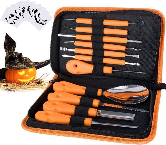 Pompoen Snijset Gereedschap Uitsnijden Uithollen Van Pompoenen Halloween Inclusief Opbergtasje En 10 Papier Sjablonen