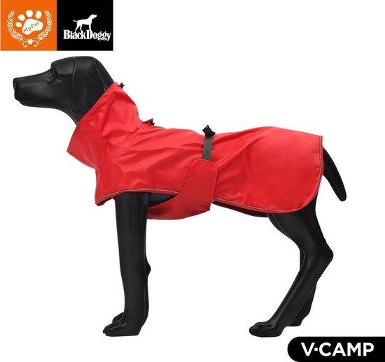 Blackdoggy - Wind en waterdichte Outdoor Regenjas voor de hond - Rood meerdere maten - Hondenregenjas