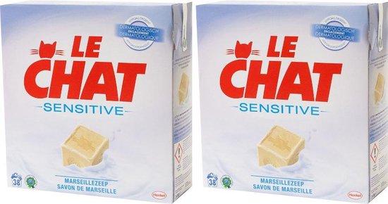 Le Chat Waspoeder Sensitive Marseillezeep - 2 x 2.47kg (76 wasbeurten)