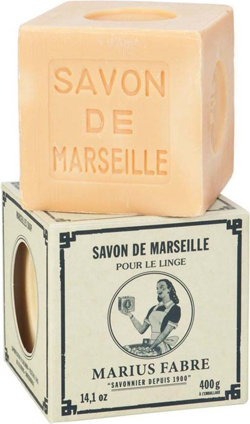 Witte Marseillezeep (Savon de Marseille) - 400 gram (zonder palmolie en plasticvrij verpakt) - Marseille zeep blank voor de hand- en machinewas - vegan - dierproefvrij - zonder chemische toevoegingen